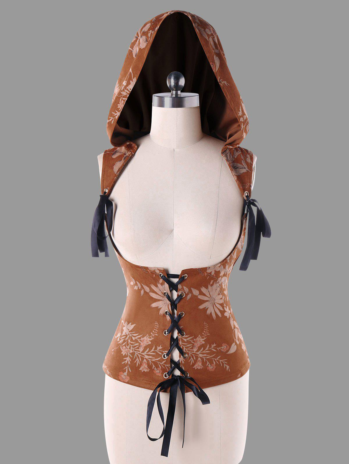 Hooded Jacquard Corset Top - BROWN XL