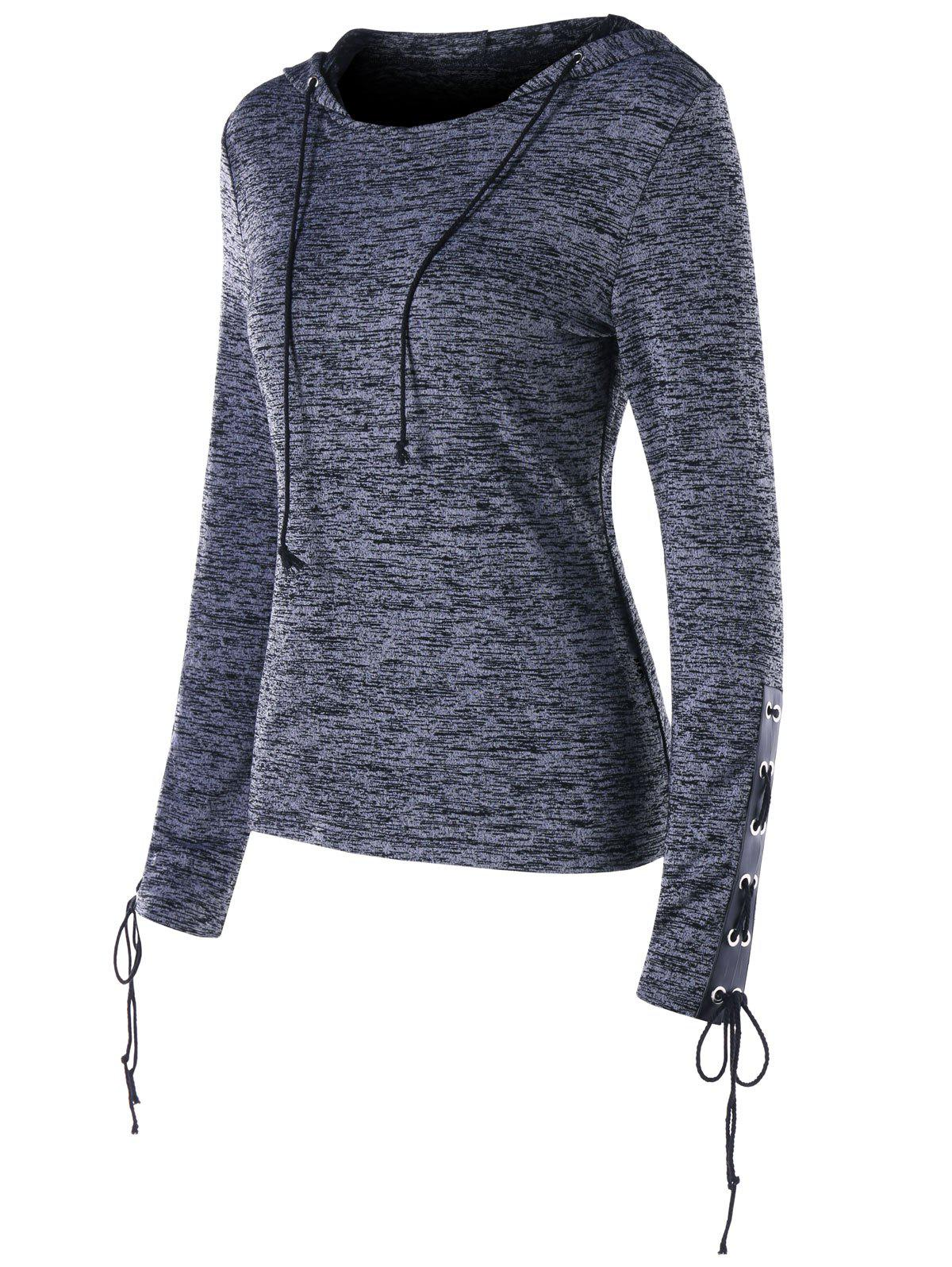 Marled Drawstring Neck Lace Up Hoodie - GRAY 2XL