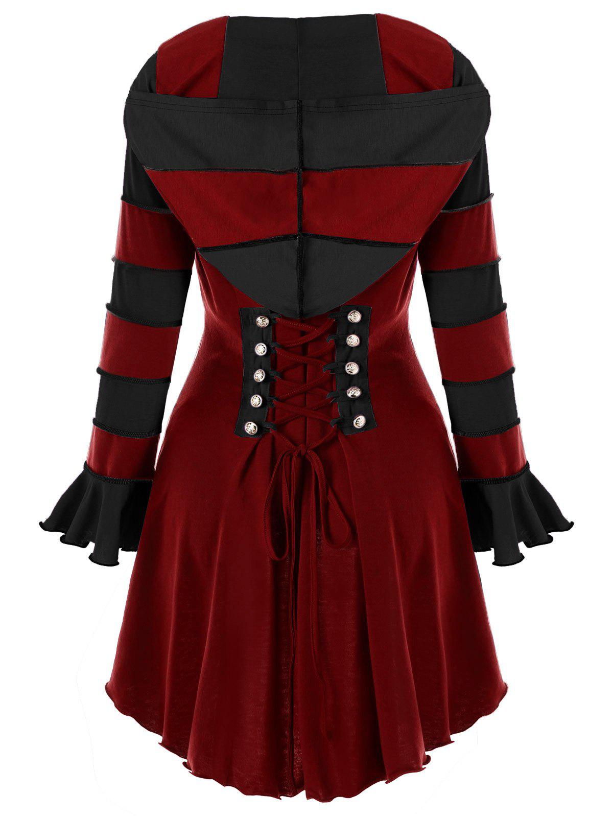 цены High Low Hooded Corset Double Breasted Coat