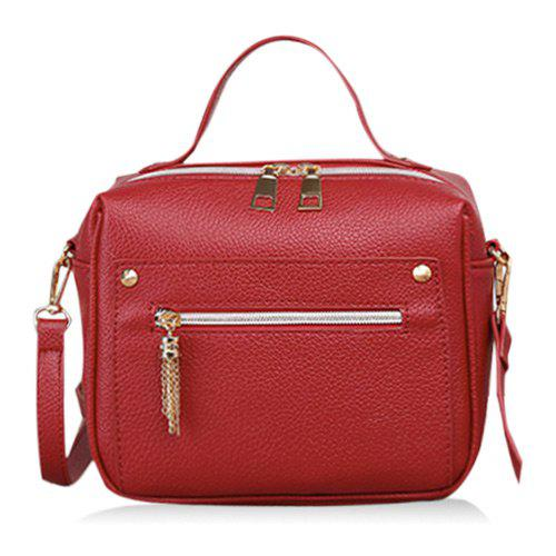 Faux Leather Metal Tassel Crossbody Bag - RED