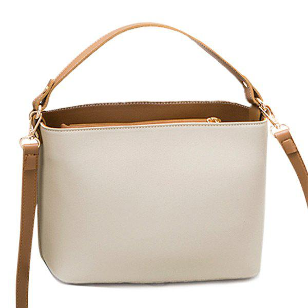 Two Tone PU Leather Handbag