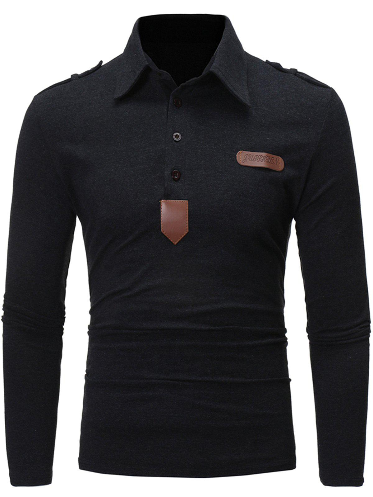 Long Sleeve PU Leather Applique T-shirt
