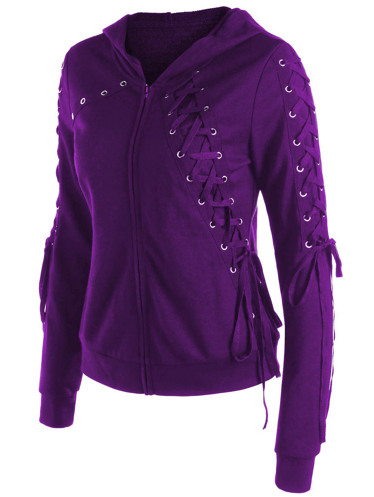 Zip Up Lace Up Hoodie - DEEP PURPLE L