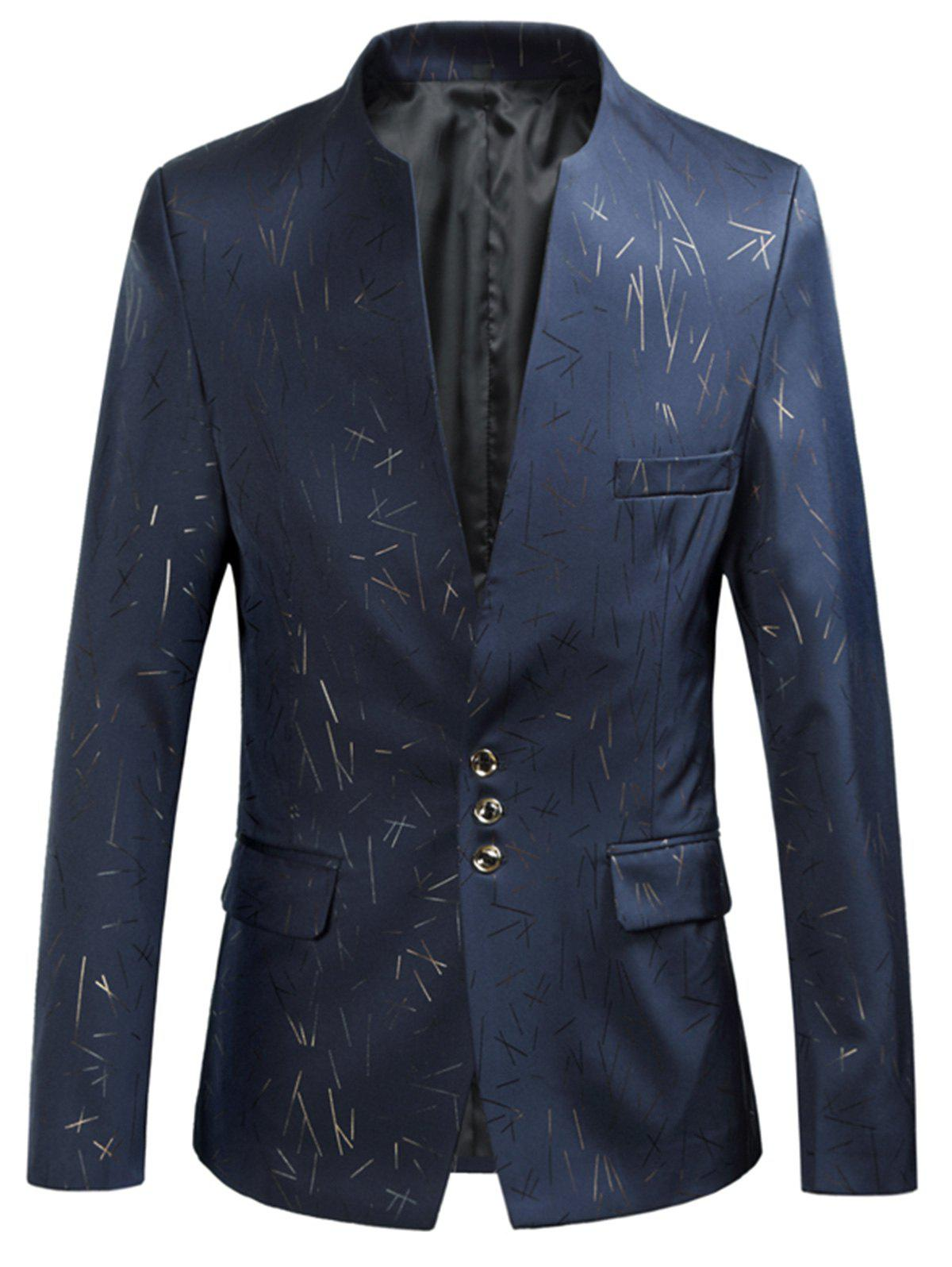 Single Breasted Golden Printed Blazer - CADETBLUE XL