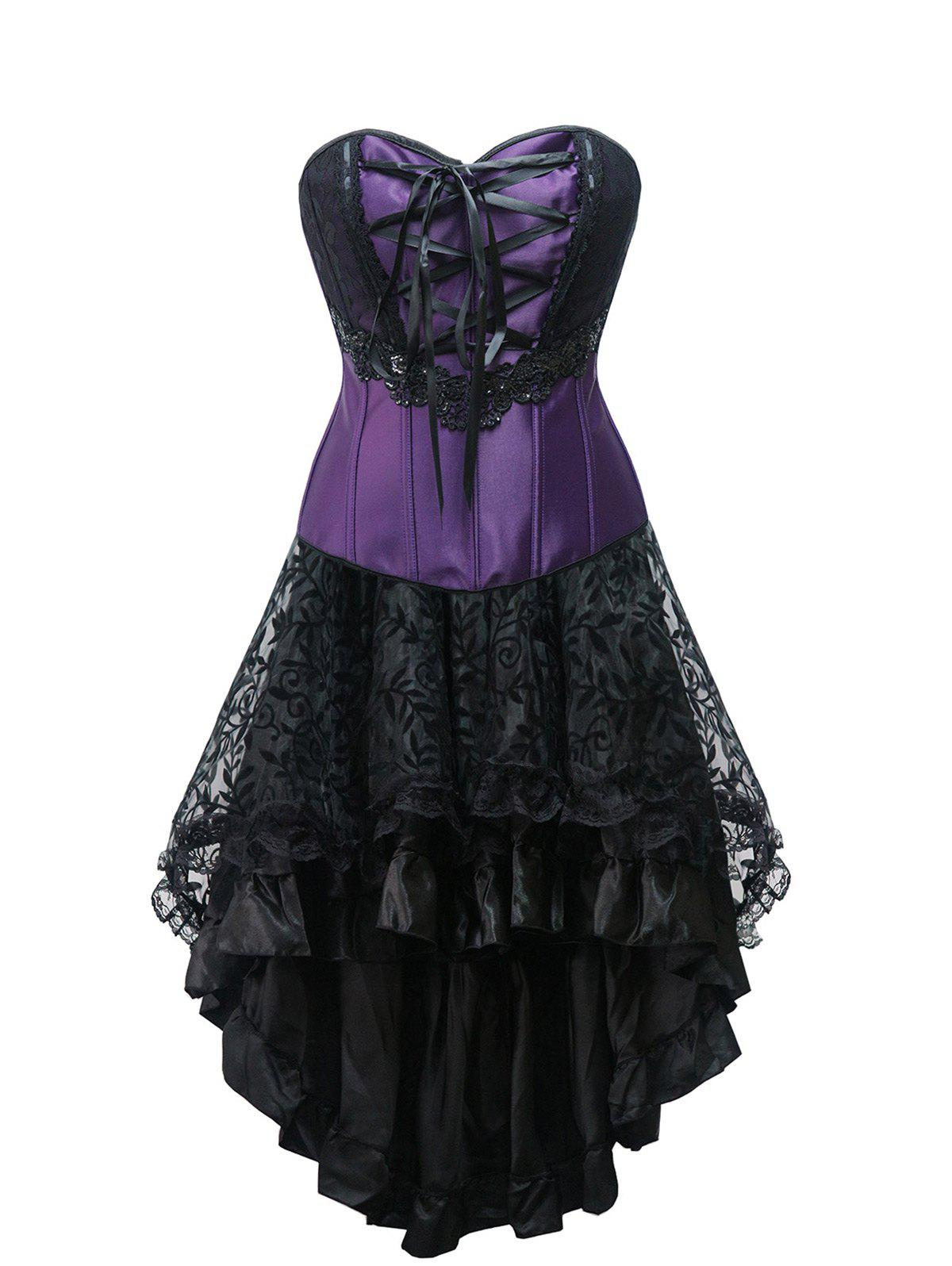 Lace Up High Low Strapless Corset Dress - PURPLE XL