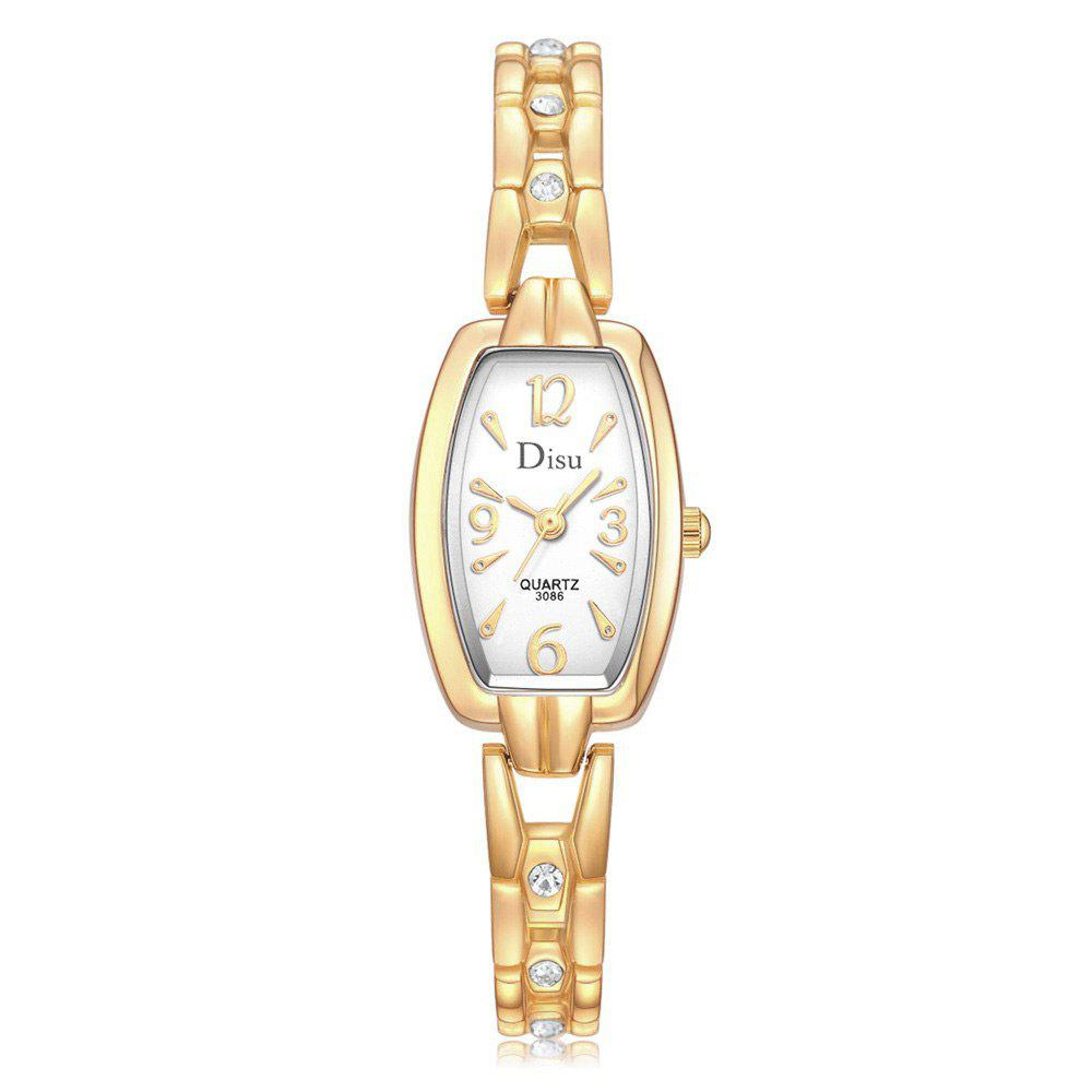 Rhinestone Alloy Strap Quartz Number Watch - GOLDEN