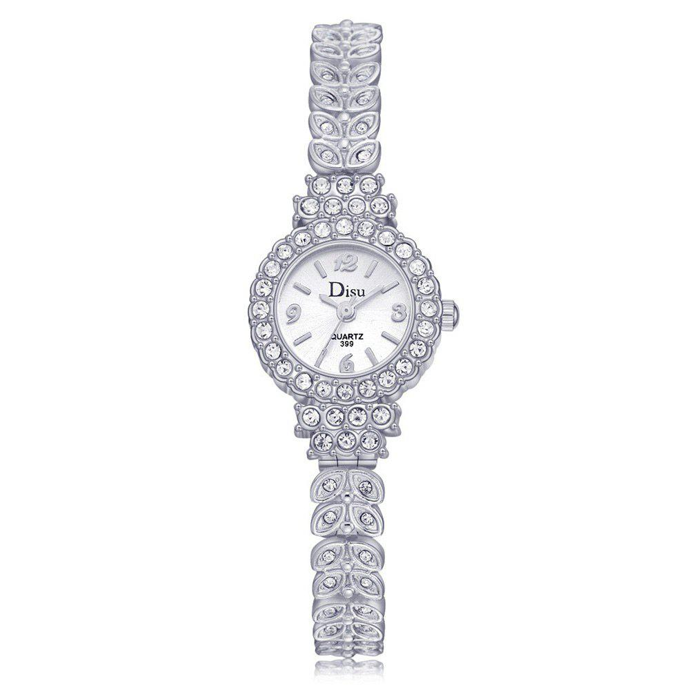 Rhinestoned Leaf Alloy Strap Watch - SILVER