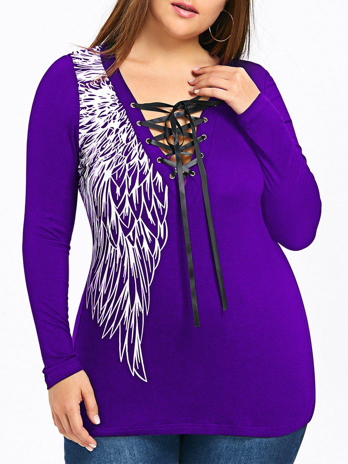 Plus Size Wings Print Lace Panel Tie UpTop - PURPLE 5XL