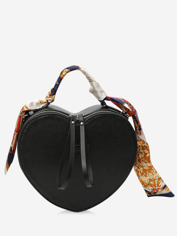 PU Leather Heart Shaped Scarf Handbag - BLACK