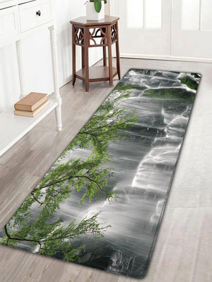 Waterfall Pattern Skidproof Flannel Bath Rug vintage color block skidproof flannel bath rug