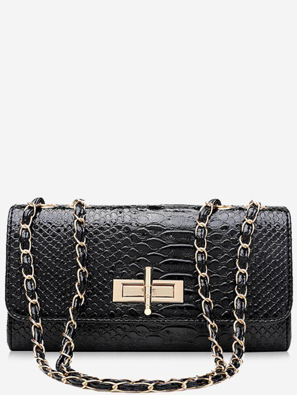 Crocodile Print Chain Shoulder Bag - BLACK