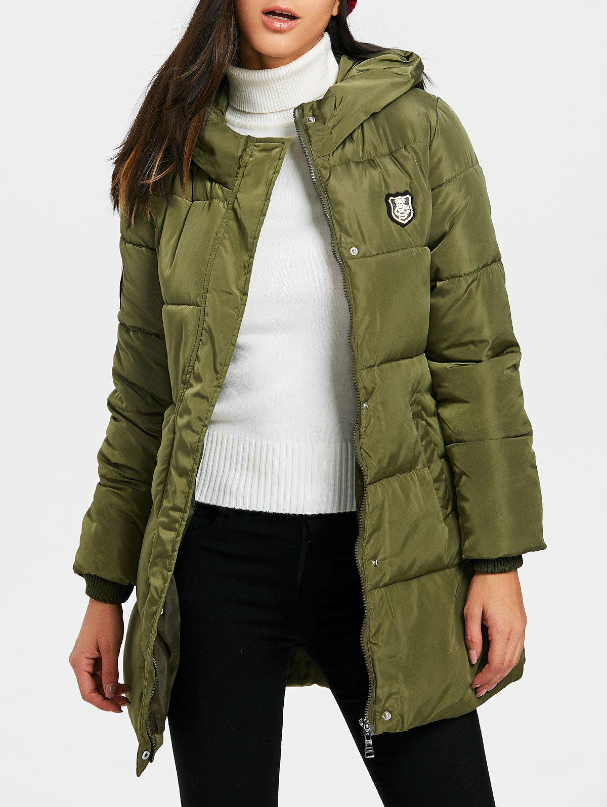 Hooded Single Breasted Puffer Jacket - GREEN 2XL
