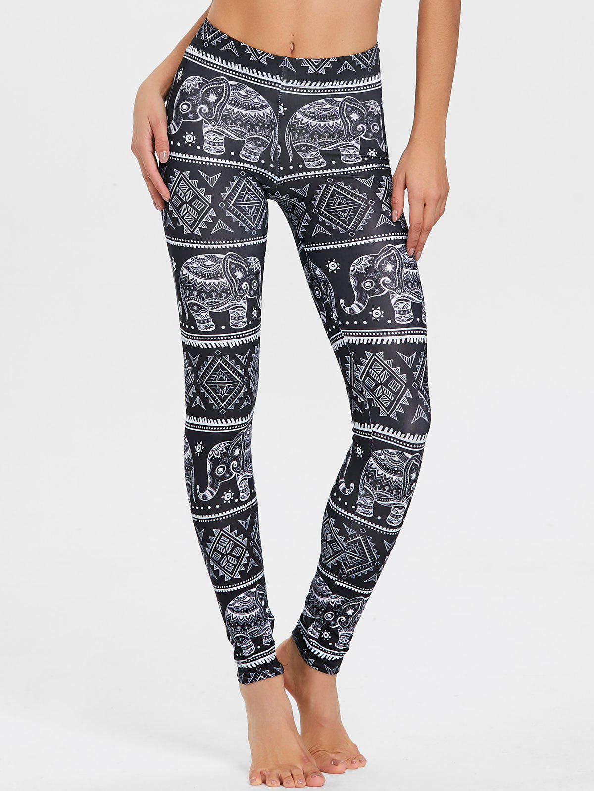 Elephant Print African Leggings - BLACK M