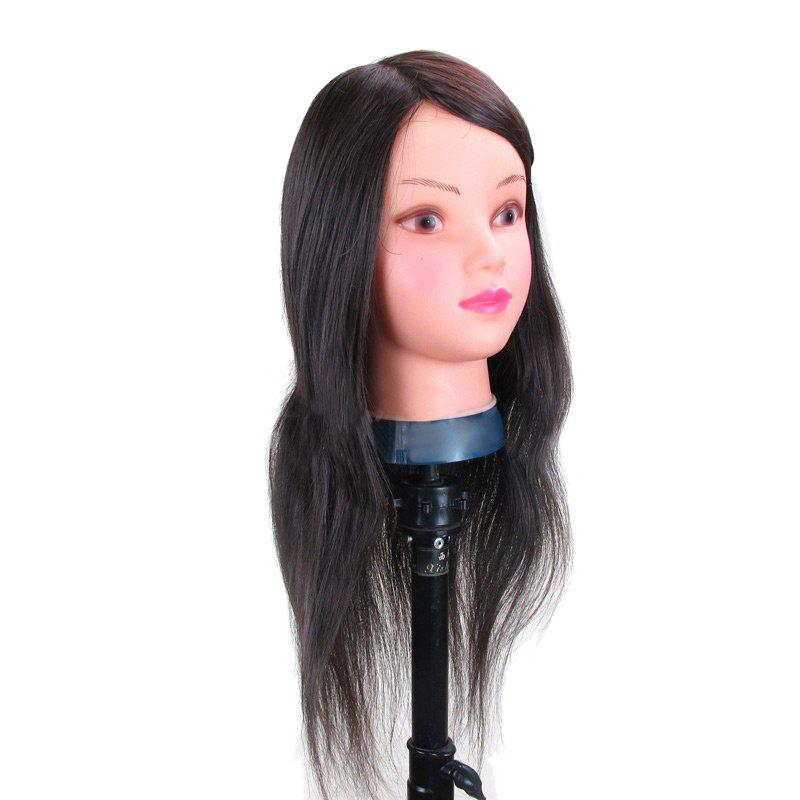 Long Straight Synthetic Wig Head Mannequin For Practice Training - BLACK