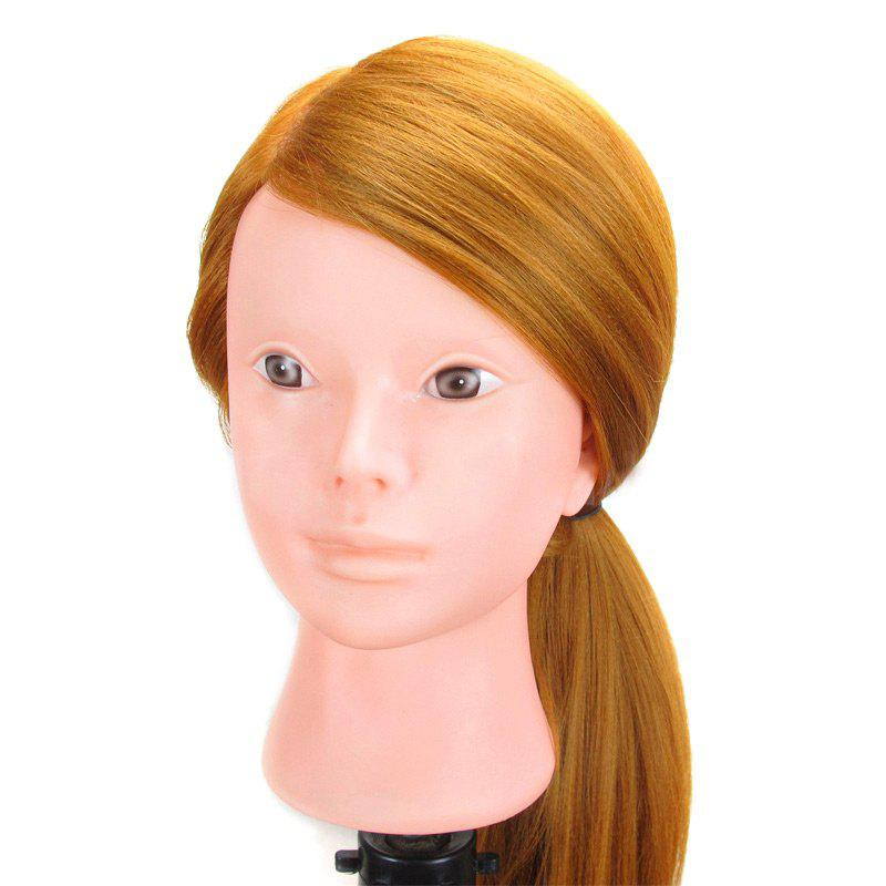 Long Straight Synthetic Wig Mannequin Head For Training Hairdressing - GOLDEN