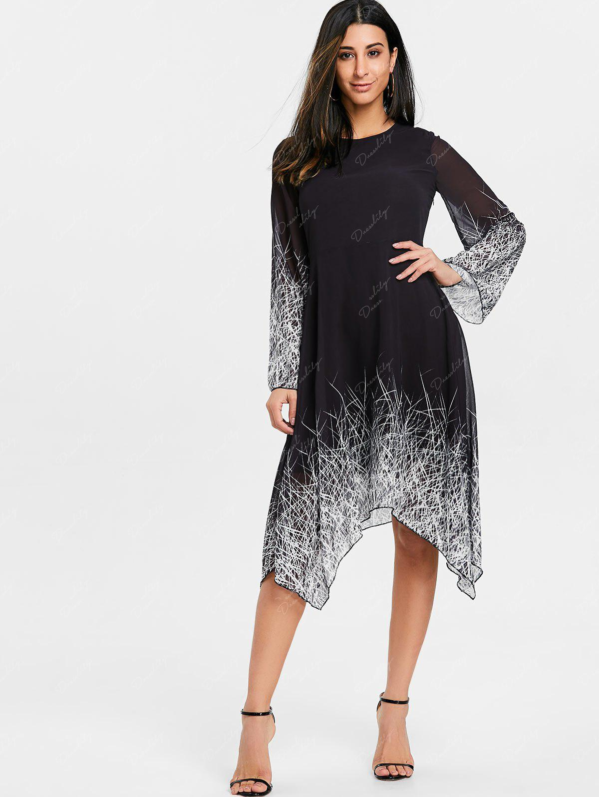 Asymmetric Linear Print Chiffon Dress - BLACK XL