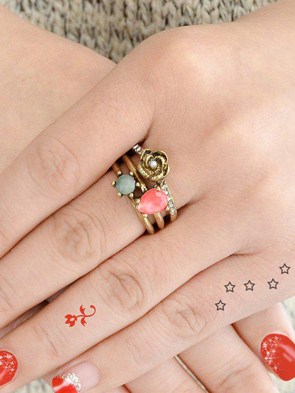 Faux Gem and Crystal Decorated Rings Set - GOLDEN ONE-SIZE