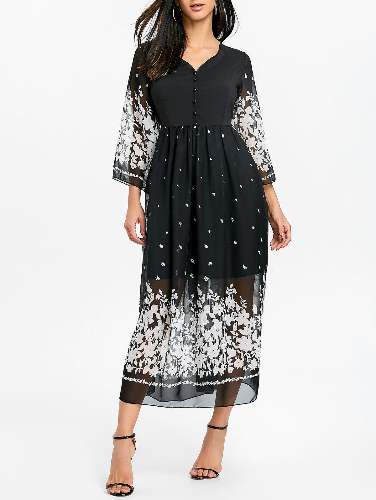 Bell Sleeve Floral Chiffon Midi Dress - BLACK S