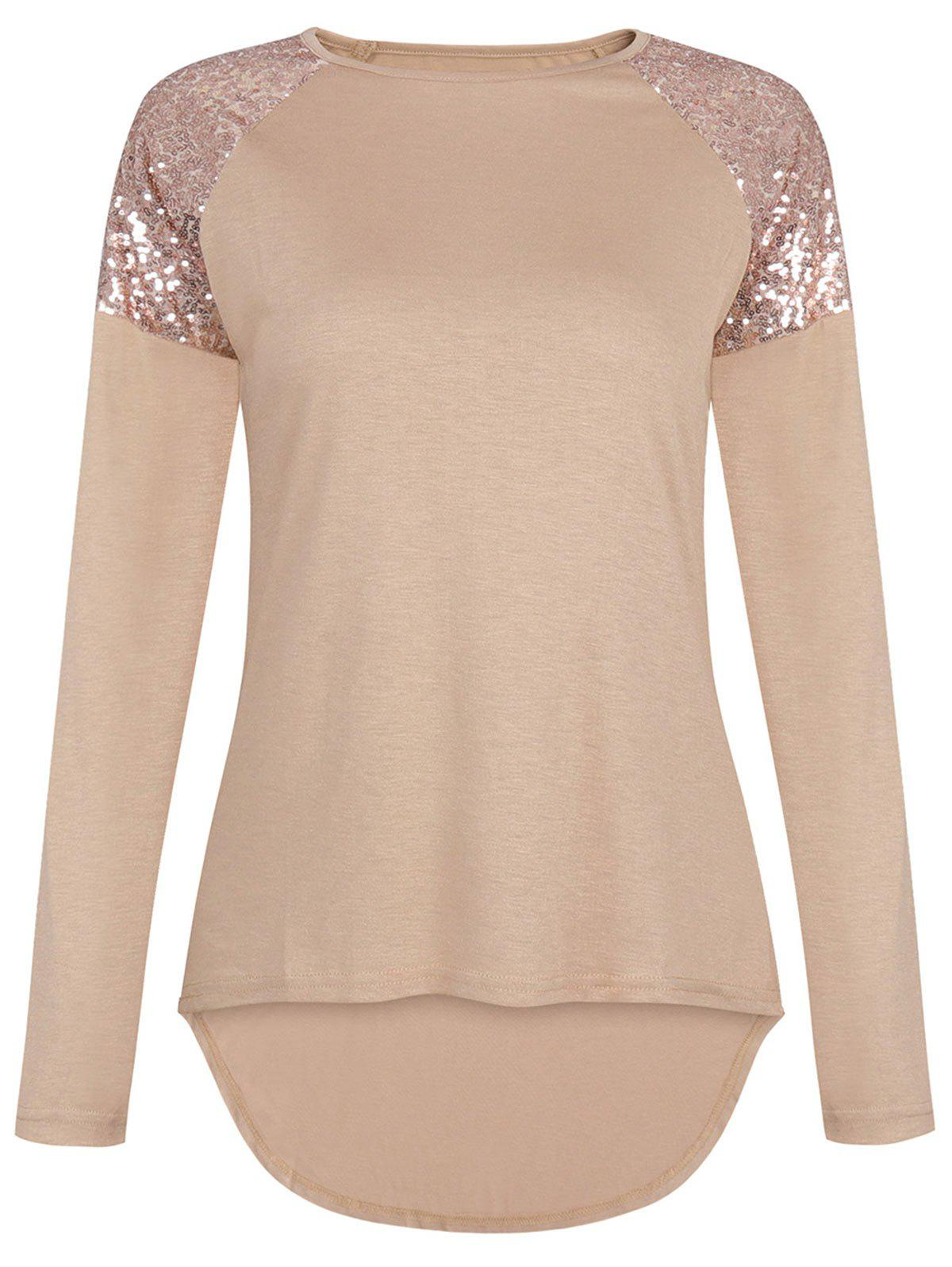 Sequin High Low Raglan Sleeve T-shirt - KHAKI S