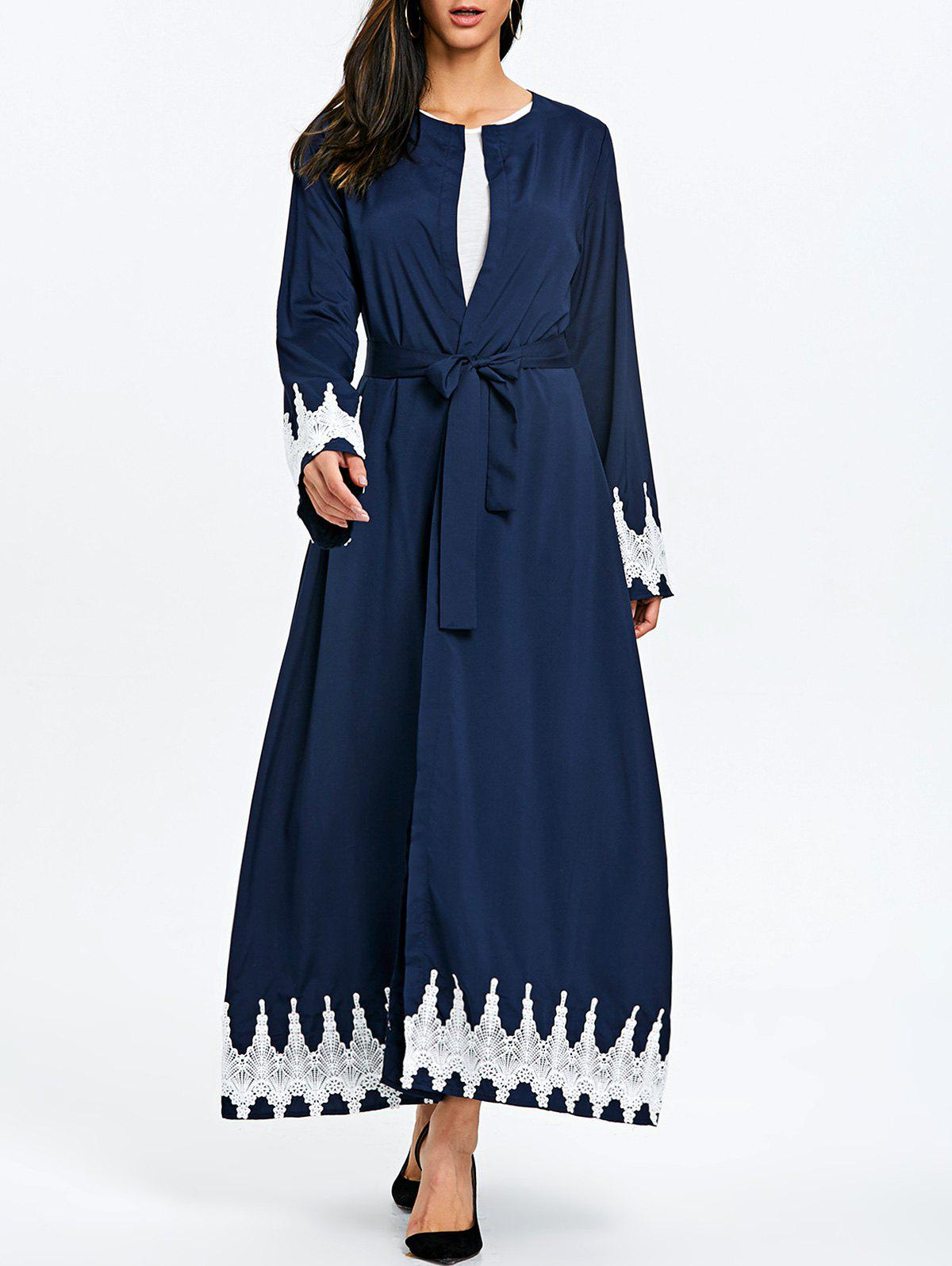 Maxi Trench Coat with Tie Belt - PURPLISH BLUE XL