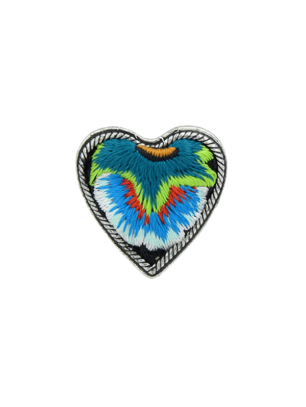 Love Heart Shape Embroidery Ring - BLUE ONE-SIZE