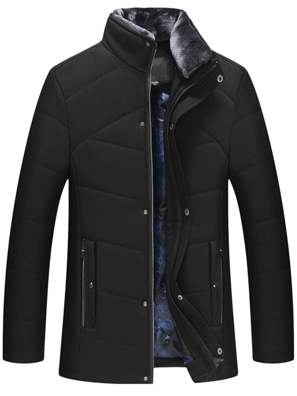 Detachable Faux Fur Collar Padded Zip Up Jacket zip up contrast trim faux fur collar padded jacket