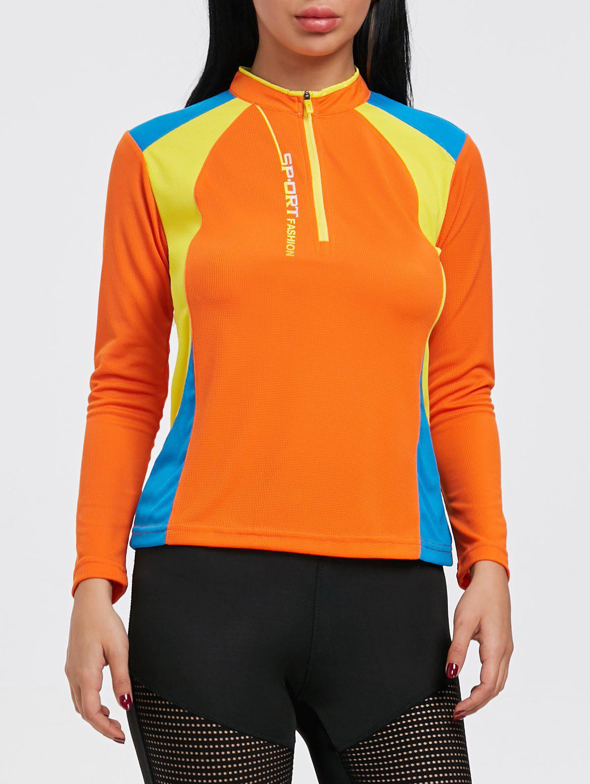 Half Zip Hit Color Cycling T-shirt - ORANGE YELLOW XL