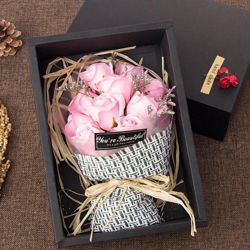 11 Pcs Soap Rose Flowers In A Box Valentine's Day - PINK
