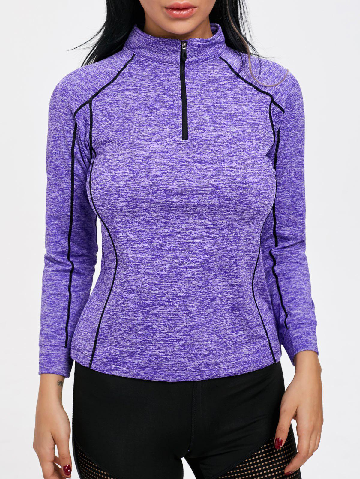Sports Contrast High Neck Half Zip T-shirt - PURPLE M