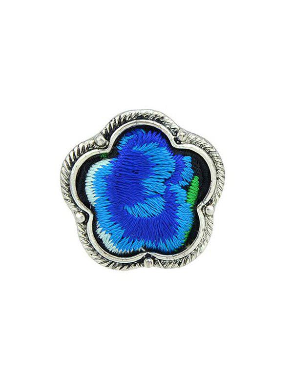 Floral Embroidery Decorated Ring - BLUE ONE-SIZE
