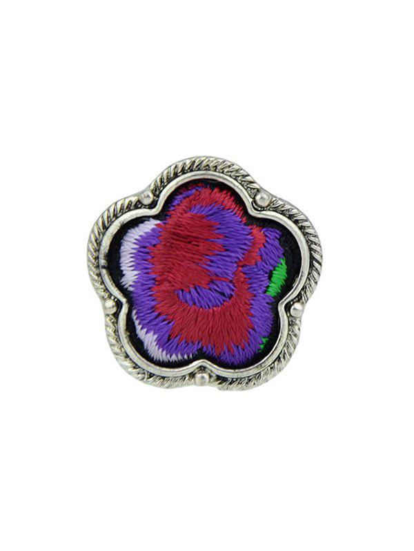Floral Embroidery Decorated Ring - PURPLE ONE-SIZE