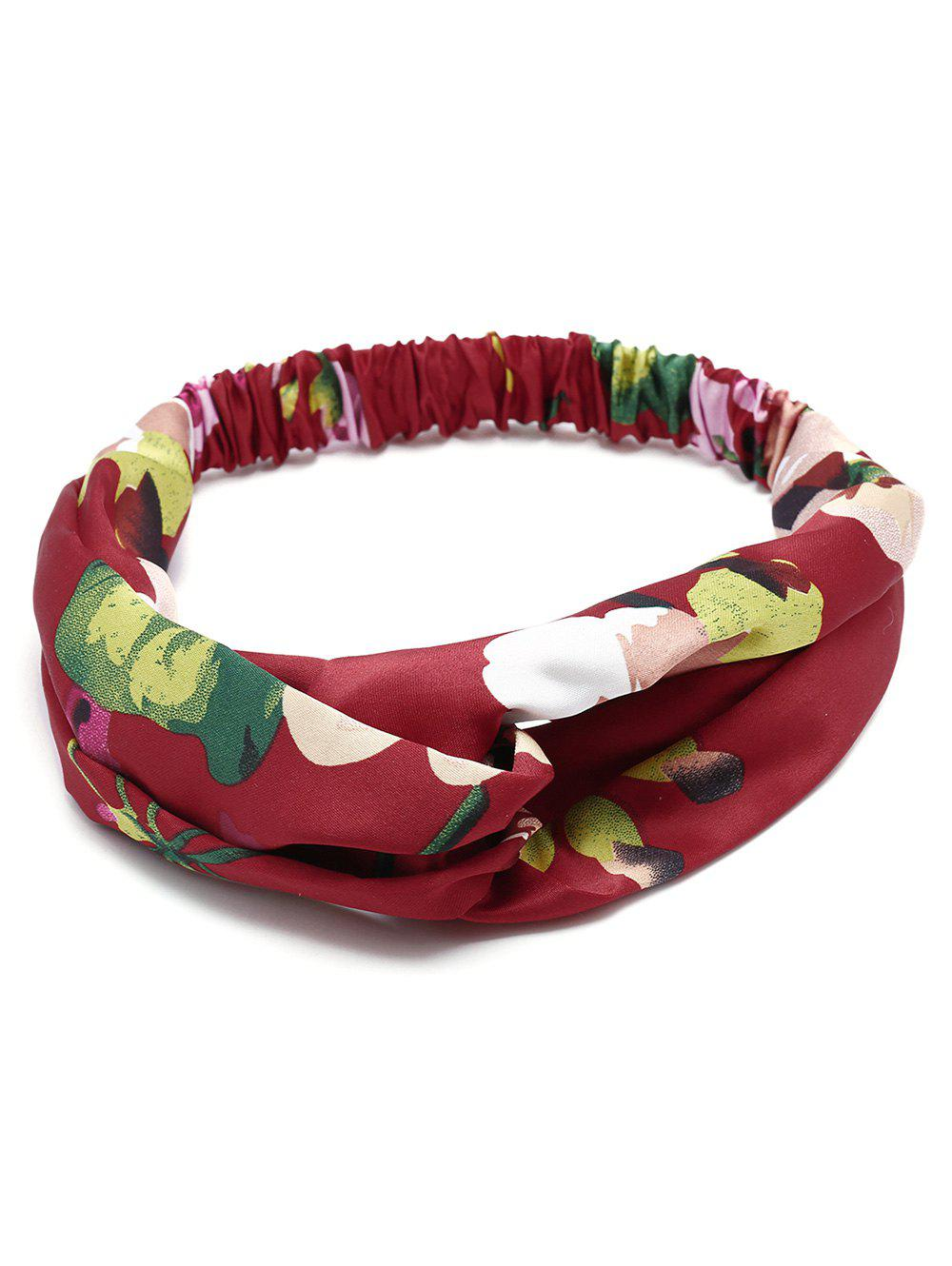 Flower Printed Multi Use Elastic Hair Band - WINE RED