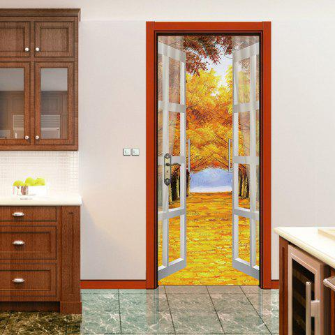 Autumn Forest Open Window Door Art Stickers - multicolor 38.5*200CM*2PCS