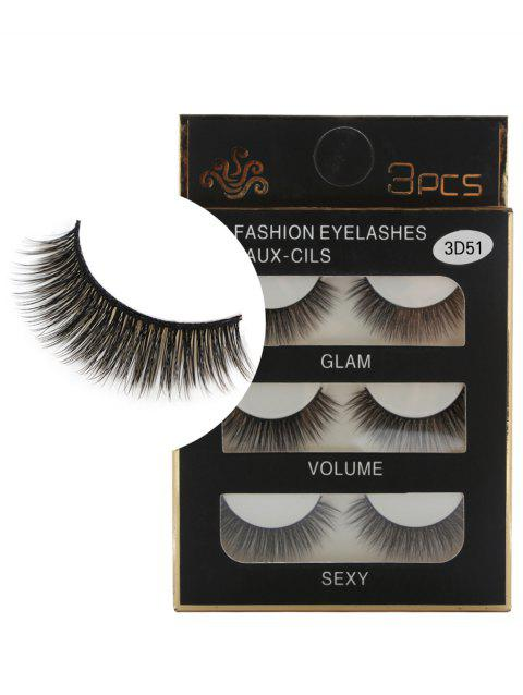 Professional 3Pcs Natural Effect Volumizing Faux Eyelashes - BLACK