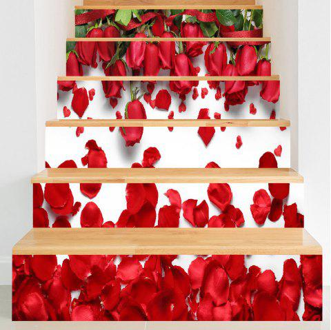 Valentine's Day Roses Petals 3D Printed DIY Stair Stickers - ROSE MADDER 100*18CM*6PCS
