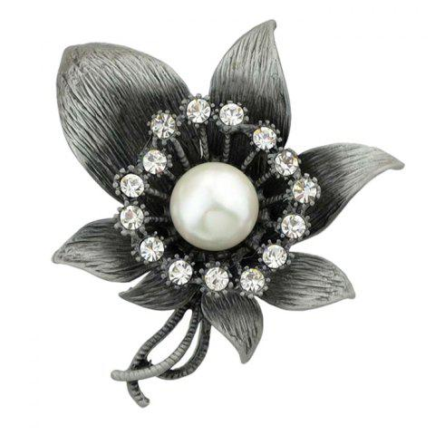 Flower Faux Diamond Gem Brooch - WHITE