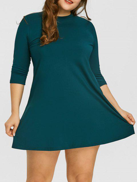 Flocking Plus Size Mini Swing Dress - BLACKISH GREEN 3XL