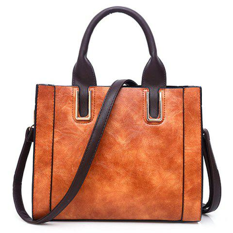 Stitching Faux Leather Metal Handbag with Strap - BROWN
