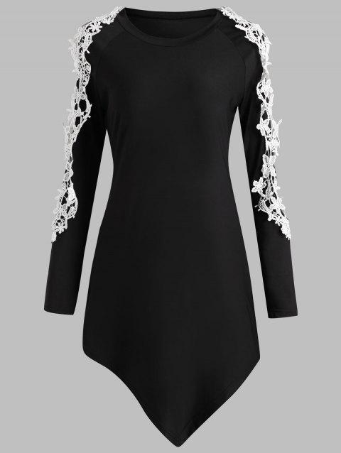 Cut Out Lace Sleeve Asymmetrical T-shirt - BLACK XL