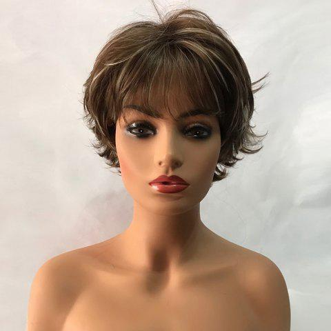 Short See-through Bang Tail Upward Colormix Slightly Curly Synthetic Wig - COLORMIX