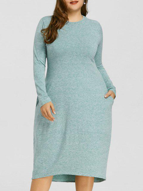 Space Dye High Low Plus Size Dress - GREEN 2XL