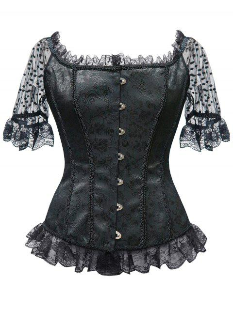 Lace Trim Steel Boned Corset Top - BLACK L