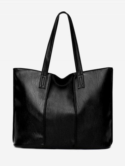 Nude Faux Leather Shoulder Bag - BLACK