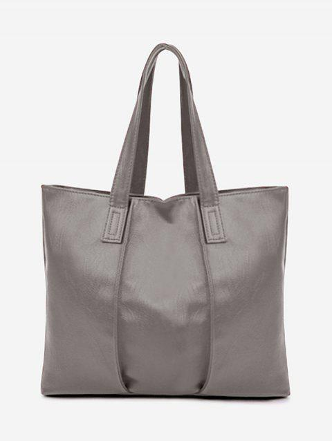 Nude Faux Leather Shoulder Bag - GRAY
