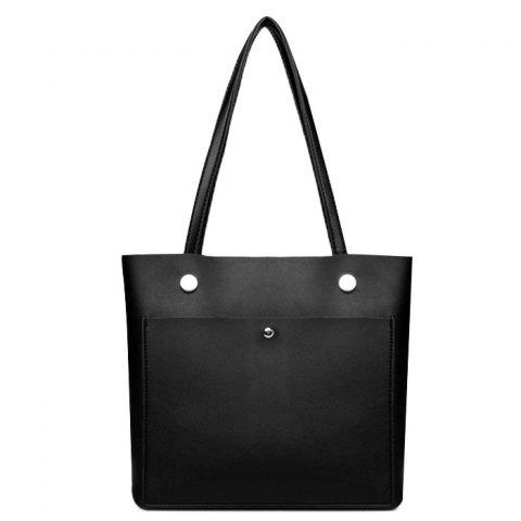 High-polished Studs Shoulder Tote Bag - BLACK