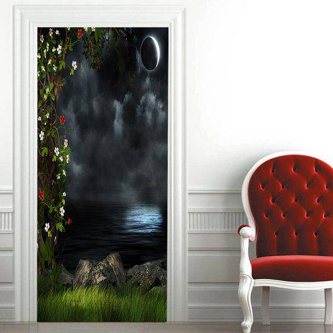 Dark Night Lake Patterned Door Art Stickers - COLORMIX 38.5*200CM*2PCS