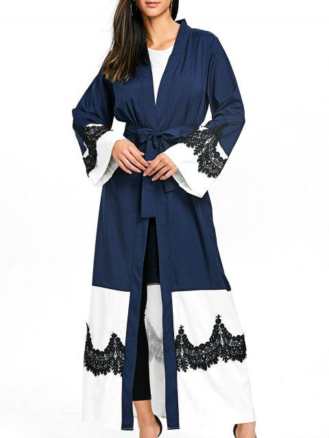 Bell Sleeve Duster Coat with Tie Belt - PURPLISH BLUE M