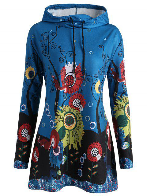 Plus Size Long Squirrel Forest Hoodie - LAKE BLUE 4XL
