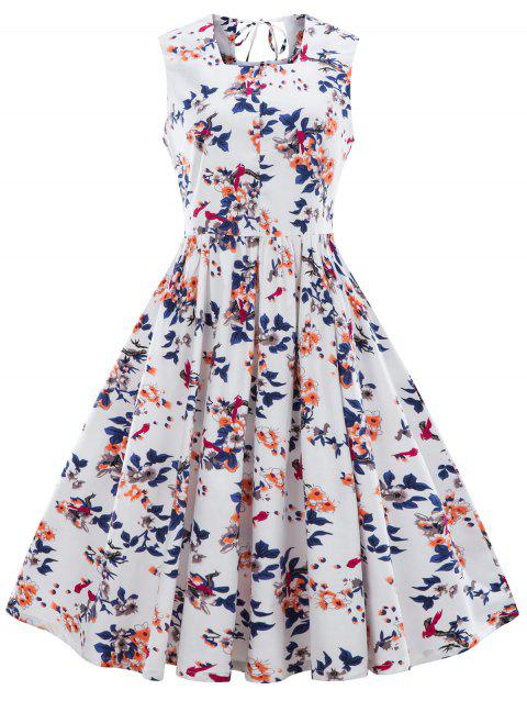 Floral Printed Sleeveless Fit and Flare Dress - WHITE M