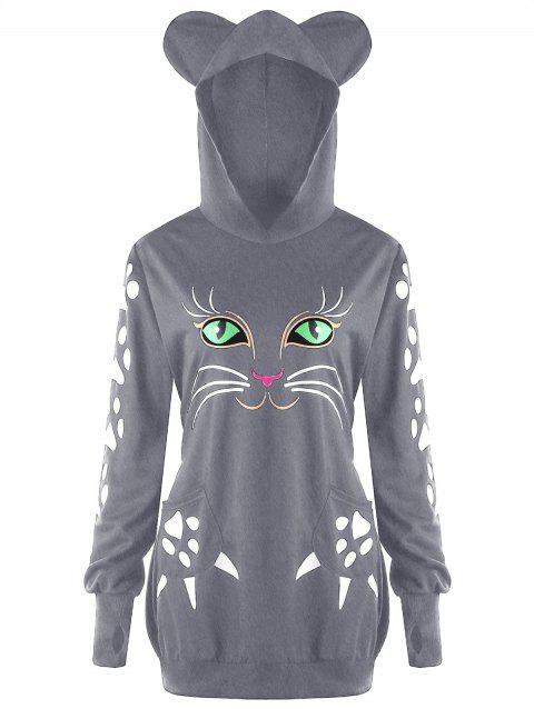 Plus Size Cat Print  Hoodie with Ears - GRAY 2XL